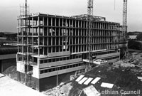 Old photograph of West Lothian House being built